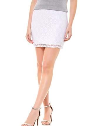 Mini saia ralm rendada-branco