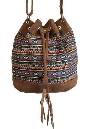 Bolsa feminina saco transversal étnica colorida com alça regulável