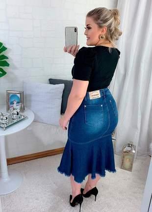 Saia jeans sereia peplum desfiados moda feminina evangélica