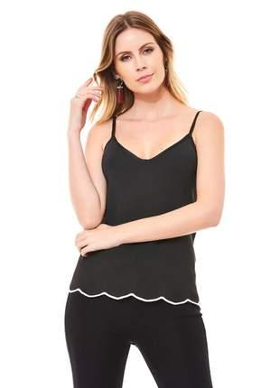 Blusa ralm de alça tricot- preto