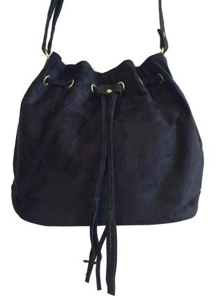 Bolsa feminina saco transversal em camurça preta alças ajustáveis