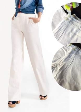 Calça hering pantalona em linho, cintura média - branco off