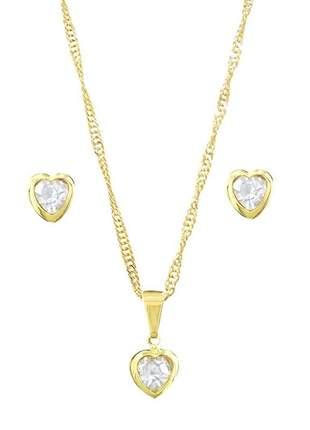 Conjunto coração com cristal incolor gc-amc2190