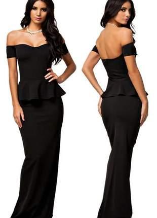 Vestido longo feminino peplum social luxo