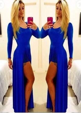 Vestido longo feminino saia dupla com fenda e manga longa luxo