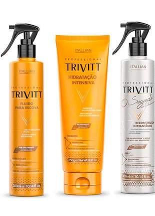 Kit trivitt segredo + hidratação + fluído para escova t