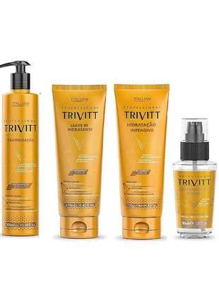 Kit trivitt cauterização + leave - in + hidratação + reparador de pontas