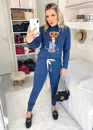 Corina conjunto de moletom calça + casaco urso - azul