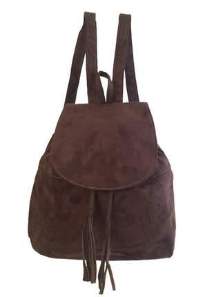 Bolsa mochila feminina café camurça sintética alças reguláveis