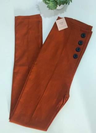 Calça preta ou caramelo social bengaline luxo botões cintura alta