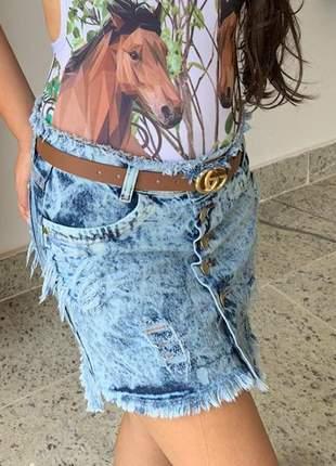 Saia jeans com botões destroyed primavera verão
