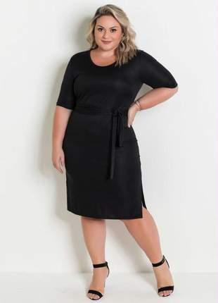Vestido preto amarração na cintura plus size