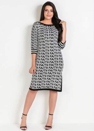 Vestido letering preto e branco moda evangélica