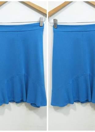 Saia básica azul com leves babados