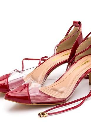 Sapato scarpin salto baixo transparente amarrar na perna vermelho