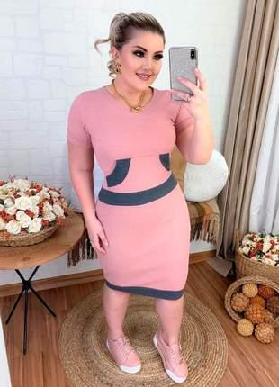 Vestido tubinho midi malha canelada moda feminina evangélica