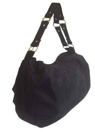 Bolsa feminina grande camurça sintética preta transversal 2 alças