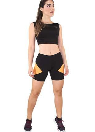 Conjunto feminino fitness cropped regata com faixa + short preto com amarelo luxo