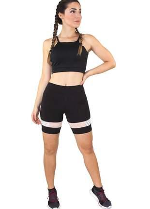 Conjunto feminino fitness cropped alcinha preto + shorts preto com elastico luxo