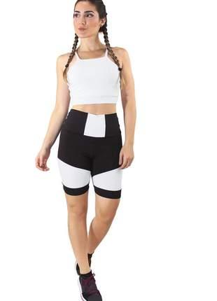 Conjunto feminino fitness cropped branco + shorts preto com branco luxo