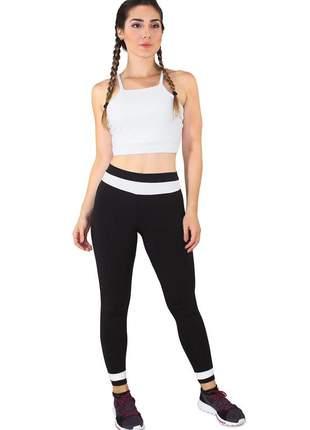 Conjunto feminino fitness cropped branco + calça fitness preto com branco luxo