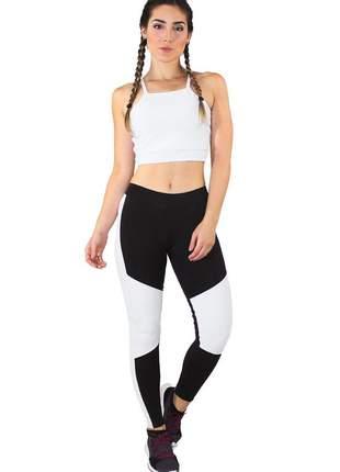 Conjunto feminino fitness cropped branco + calça fitness preto com detalhe branco luxo