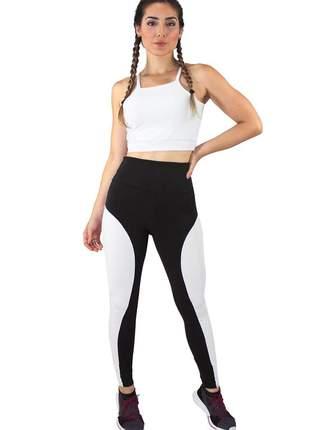 Conjunto fitness academia cropped branco + calça fitness preto com faixa branco luxo
