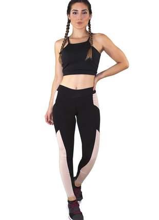 Conjunto fitness academia cropped preto + calça fitness preto com detalhe rosê luxo