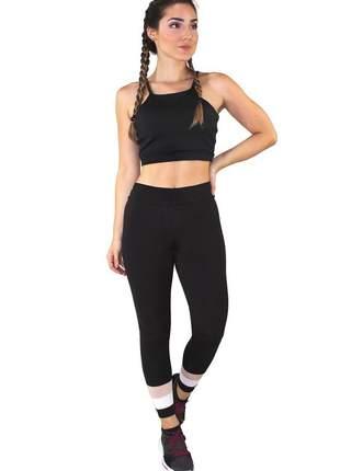 Conjunto fitness academia cropped preto + calça fitness preto com detalhe rosê e branco