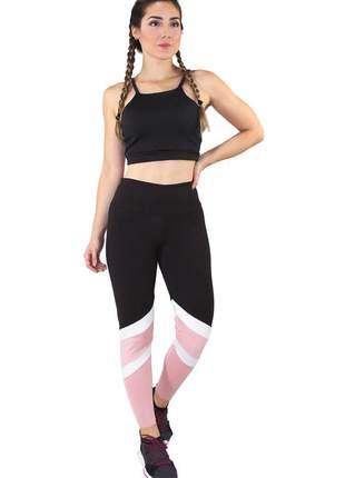Conjunto fitness academia cropped preto + calça fitness preto com faixas branca e rosê