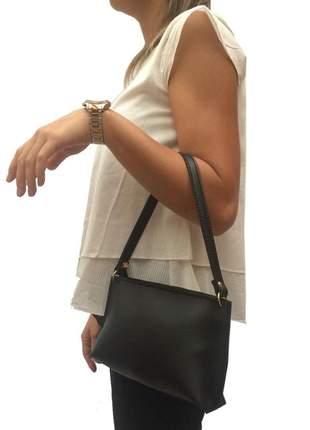 Mini bolsa feminina preta para festas e jantares em couro sintético
