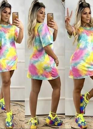 Vestido feminino moda tie dye lançamento