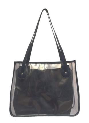 Bolsa de praia sacola transparente de ombro com necessaire bege