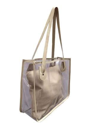 Bolsa de praia sacola transparente de ombro com necessaire nude