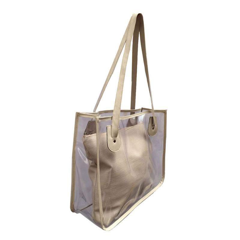 320fcb7c9 Bolsa de praia sacola transparente de ombro com necessaire nude - R ...