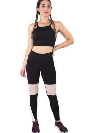 Conjunto fitness cropped preto + calça fitness preto com faixas branca e detalhe rosê