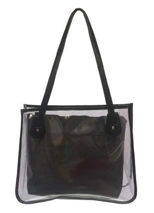 Bolsa de praia sacola transparente de ombro com necessaire preta