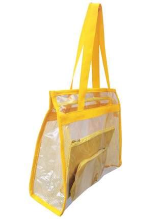 Bolsa de praia sacola grande ombro transparente necessaires amarela