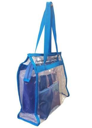 Bolsa de praia sacola grande ombro transparente necessaires azul