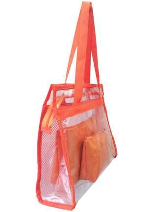 Bolsa de praia sacola grande ombro transparente necessaires laranja