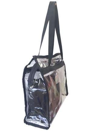 Bolsa de praia sacola grande ombro transparente necessaires preta