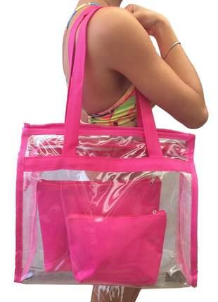 Bolsa de praia sacola grande ombro transparente necessaires rosa