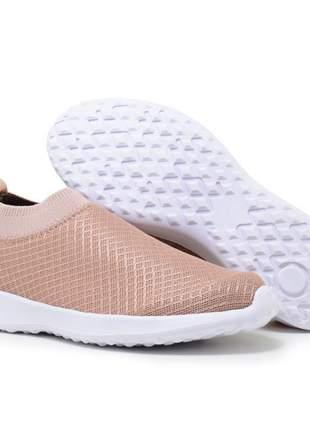 Tênis elástico trico super leve para caminhada rosê