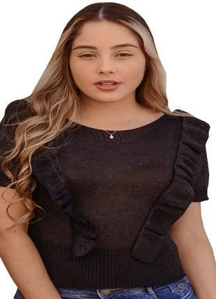 Blusa básica preta moda feminina verão
