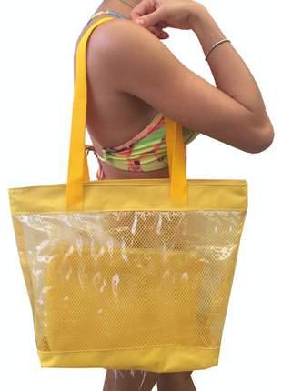 Bolsa de praia sacola grande ombro transparente com redinhas amarela