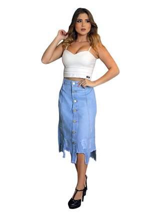 Saia jeans midi destroyed com botões moda instagram r:1004