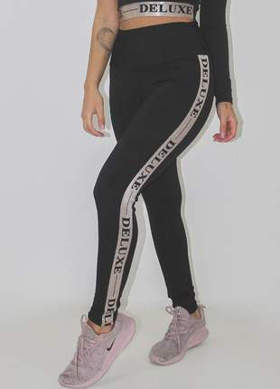 Calça legging feminina fitness deluxe preta detalhe elastico luxo