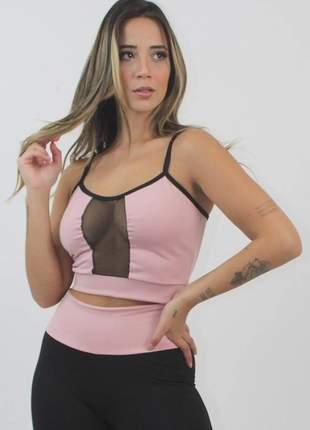 Cropped feminino fitness rosê com preto e detalhe tela decote luxo
