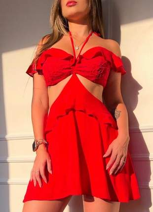 Vestido casual curto ciganinha verao vermelho