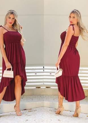 Vestido alcinha mullet - wine